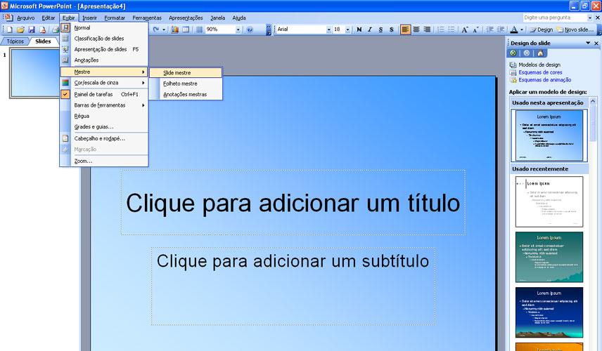Vamos incrementar o plano de fundo e inserir uma data e um logotipo. Clique  em <b>Exibir (view) > Mestre (master) > Slide mestre (slide master)</b> ...