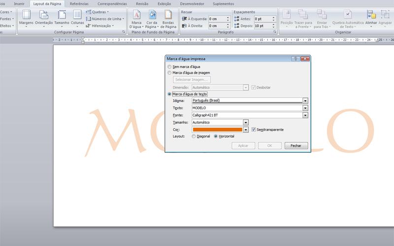 b Inserir marca d água --   b  Se optar por personalizar, você poderá  escolher o formato do texto, cor da fonte, tamanho, layout. 19e86427ae