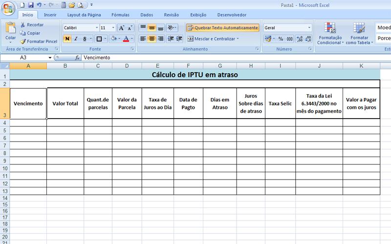 Saiba como usar o Excel para calcular o IPTU em atraso - Fotos ...