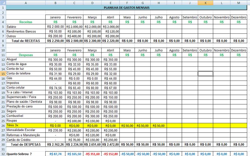 Saiba como montar uma planilha de gastos mensais personalizada