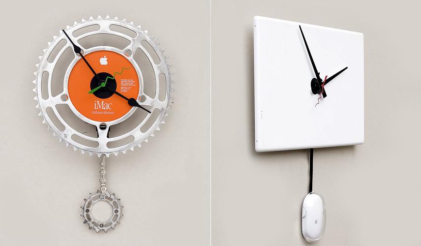 f8d4ebf2780 Dois modelos de relógio para quem é fã da Apple. O primeiro é feito a  partir de uma mistura de itens de uma bicicleta com um CD de instalação.