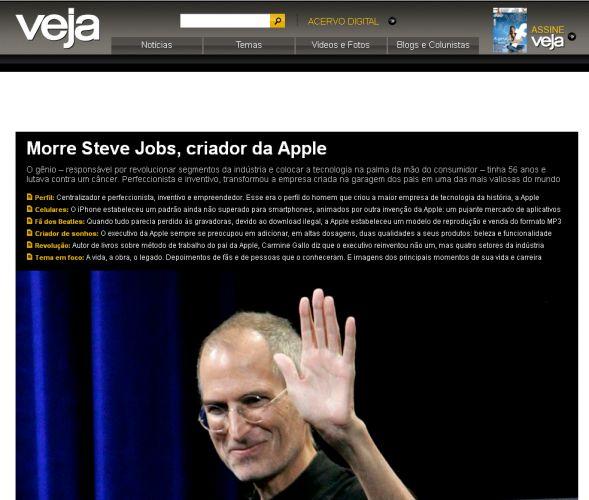 Como O Mundo Online Noticiou A Morte De Steve Jobs Fotos Tecnologia